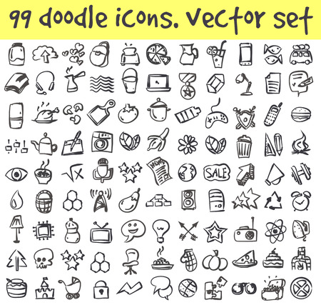 doodle icons set. Stock cartoon signs for design. 向量圖像