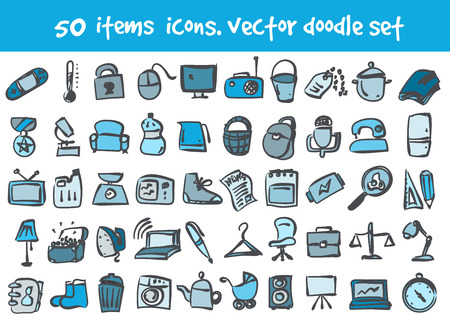 doodle items icons set. Stock cartoon signs for design.