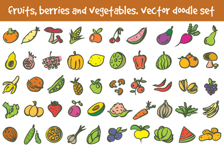 doodle fruits, berries and vegetables icons set. Stock cartoon signs for design. Banco de Imagens - 122573027