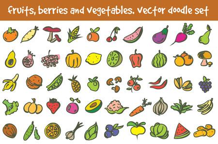 doodle fruits, berries and vegetables icons set. Stock cartoon signs for design. Ilustração