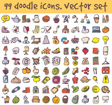 doodle icons set. Stock cartoon signs for design. Ilustração