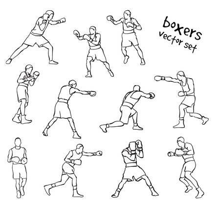 Vector set of boxers silhouettes. Stock handwritten illustration for design. Banco de Imagens - 127046387