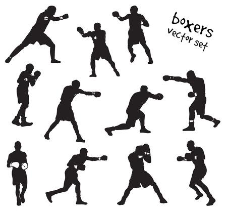 Vector set of boxers silhouettes. Stock handwritten illustration for design. Banco de Imagens - 126991978