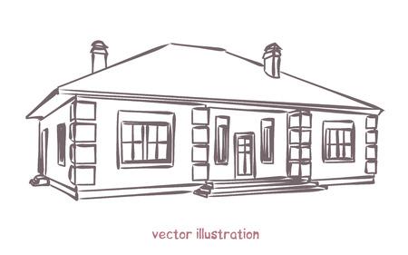Skizze des einzelnen Hauses. Vektorgrafik