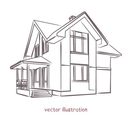 Sketch of individual house. Banco de Imagens - 122573039
