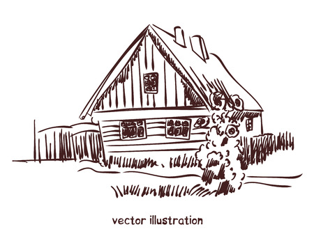 contour sketch of rural house. Stock handwritten illustration for design.