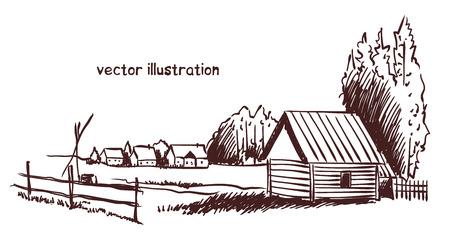 contour sketch of rural landscape. Stock handwritten illustration for design.