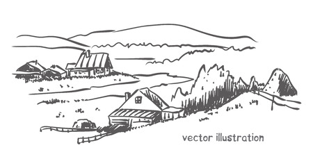 contour sketch of rural landscape. Stock handwritten illustration for design.