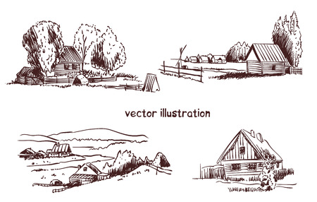 contour sketch of rural landscape. Stock handwritten illustration for design. Banco de Imagens - 122573798