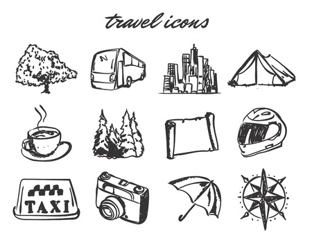 doodle travel icons set. Stock cartoon signs for design. Banco de Imagens - 122573797