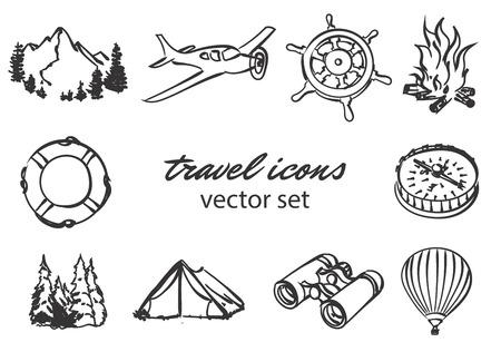 doodle travel icons set. Stock cartoon signs for design. Banco de Imagens - 122573801
