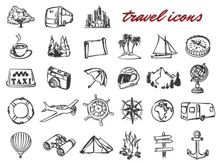 doodle travel icons set. Stock cartoon signs for design.