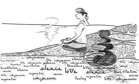 Woman meditating on the beach. Stock handwritten illustration for design. Banco de Imagens - 124289948
