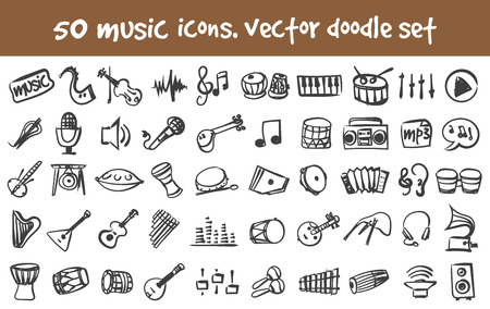 doodle music icons set. Stock cartoon signs for design.