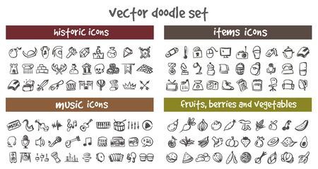 doodle icons set. Stock cartoon signs for design. Banco de Imagens - 122573807