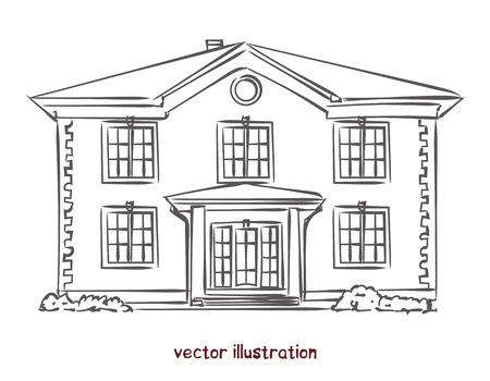 Bosquejo de casa de madera. Ilustración de vector