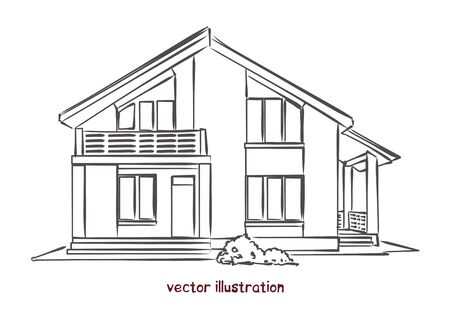 vector sketch of wooden house