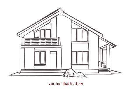vector sketch of wooden house Banco de Imagens - 134584472