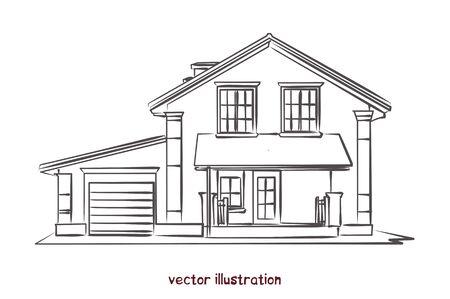 vector sketch of wooden house Banco de Imagens - 134557129