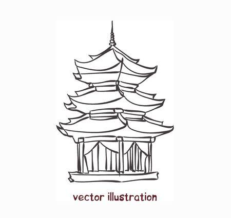 vector sketch of chinese pagoda