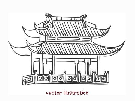 Sketch of chinese pagoda. Vector isolated illustration for design on white background