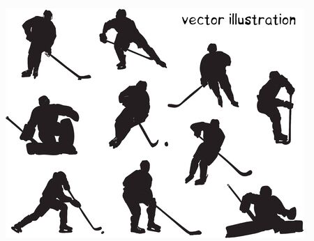 Black silhouettes of hockey players. Vector set for design