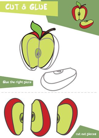 Education paper game for children - Apple. Use scissors and glue to create the image. Vettoriali