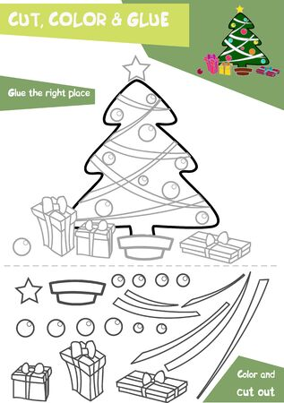 Education paper game for children - Christmas tree. Use scissors and glue to create the image.