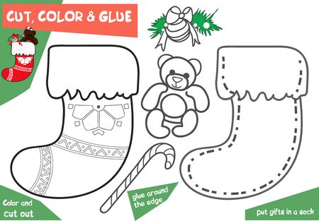 Education paper game for children - Christmas sock with bear. Use scissors and glue to create the image.