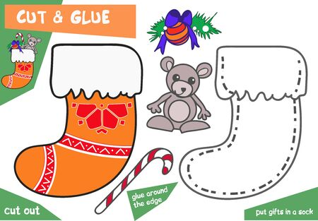 Bildungspapierspiel für Kinder - Weihnachtssocke mit Maus. Verwenden Sie Schere und Kleber, um das Bild zu erstellen. Vektorgrafik