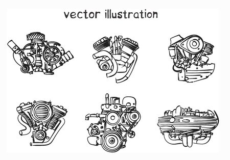 Sketch of engine. Vector isolated illustration for design on white background