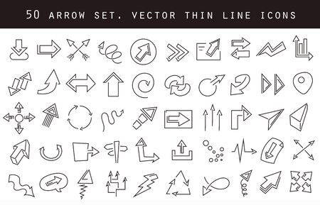 Vector line arrow icons set. Stock cartoon signs for design. Vettoriali