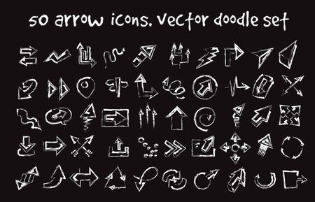 Vector doodle arrow icons set. Stock cartoon signs for design.
