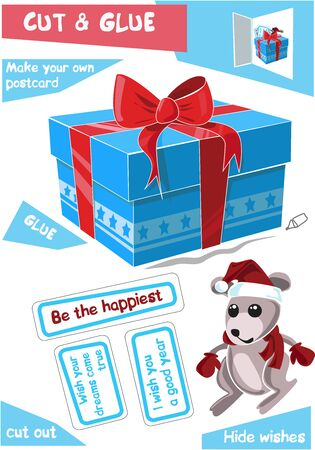 Education paper game for children - Christmas gift with mouse. Use scissors and glue to create the image.