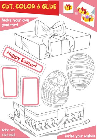 Education paper game for children - Easter gift with eggs. Use scissors and glue to create the image. Ilustração