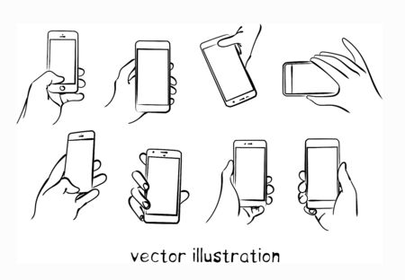 Sketch of hand with touch phone. Vector isolated illustration for design on white background Ilustração