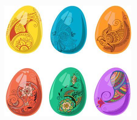 Easter eggs set in indian style. Vector isolated illustration for design on white background Ilustração