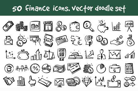 Vector doodle finance icons set. Stock cartoon signs for web design. Ilustração
