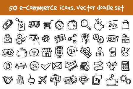 Vector doodle commerce icons set. Stock cartoon signs for web design. Ilustração