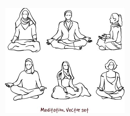 Vector set of meditating people . Stock handwritten illustration for design.