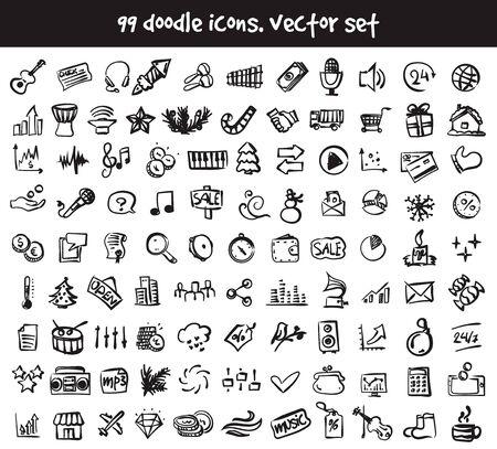 Vector doodle icons set. Stock cartoon signs for web design. Ilustração