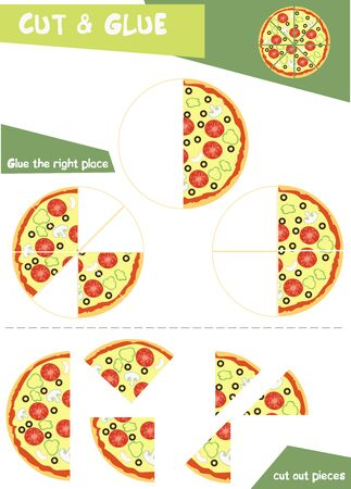 Education paper game for children - pieces of pizza. Use scissors and glue to create the image.