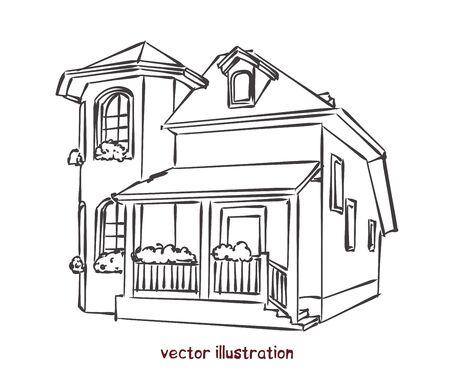 Bosquejo de casa individual. Ilustración de vector aislado para diseño sobre fondo blanco.