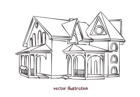 Sketch of individual house. Vector isolated illustration for design on white background