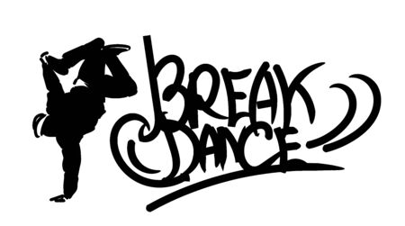 Hand drawn lettering composition with text of Break Dance and Dancer silhouette. Vector isolated illustration for design on white background