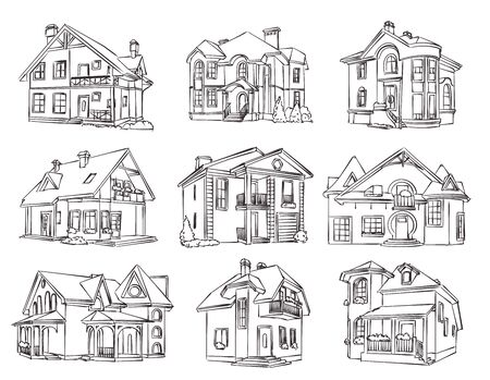 Sketch of individual house - vector set. Isolated illustration for design on white background Vettoriali