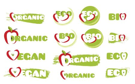Vector doodle eco icons set for package design. Isolated illustration on white background Vettoriali