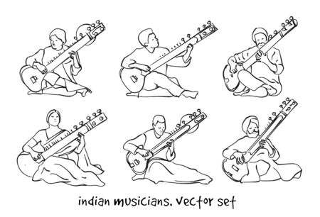 Indian musician playing traditional musical instruments sitar. Vector silhouette set