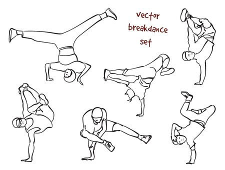 Contour silhouettes set of break dancers. Vector silhouette set on white background. Vettoriali