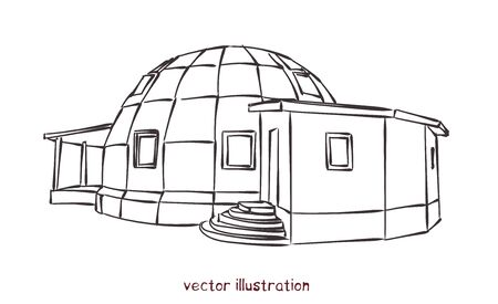 Sketch of individual spherical domed house. Vector isolated illustration for design on white background Vettoriali